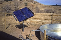 picture of a remote solar array mounted on post